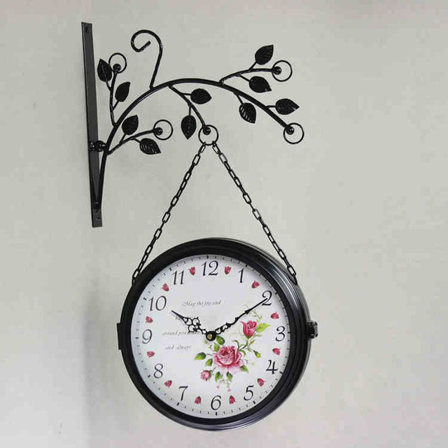 double sided wall clock wrought iron modern design watch saati relogio de parede wall clocks saat