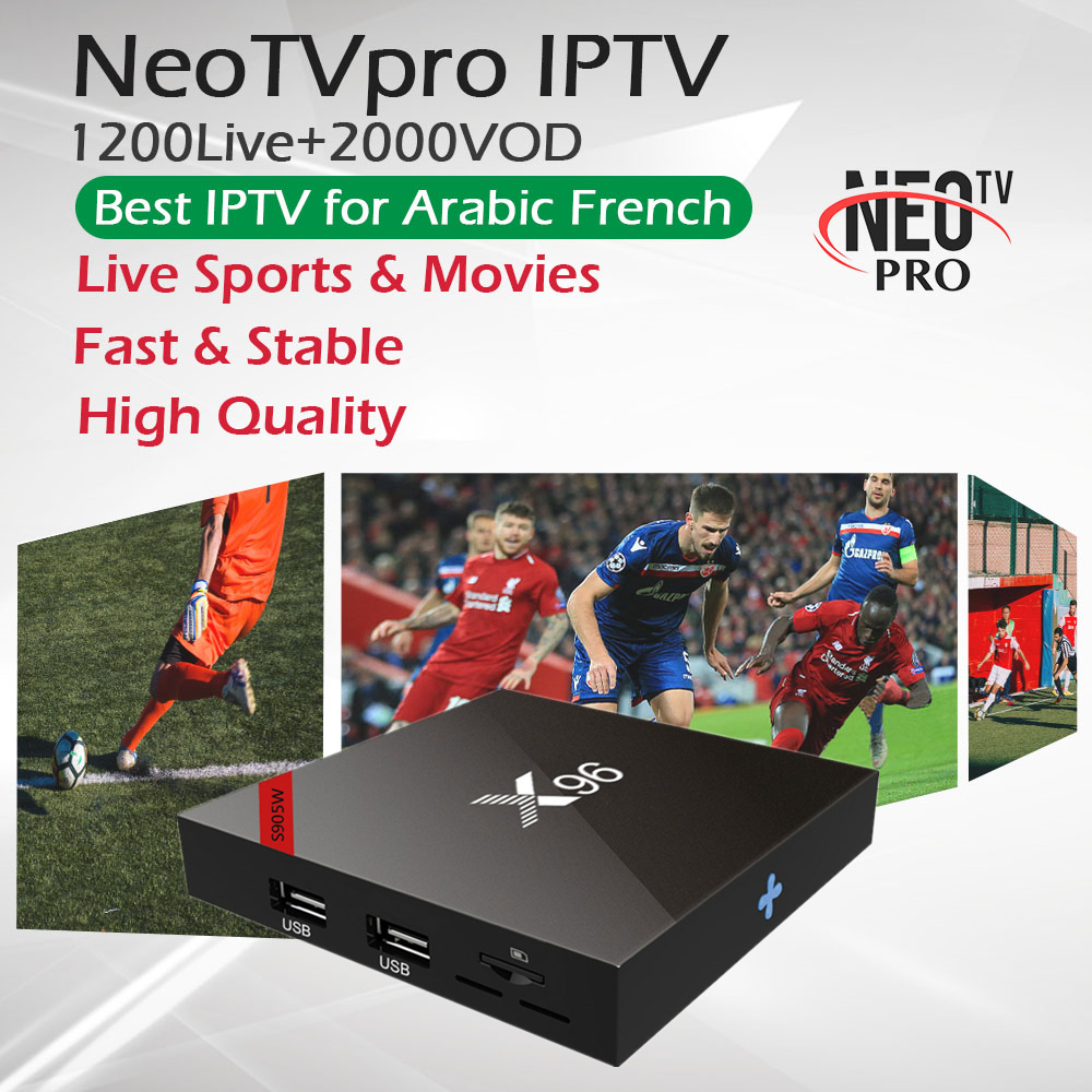 1 Year NeoTV French Arabic IPTV X96W Android 7 1 TV Box 1G 8G 2G 16G