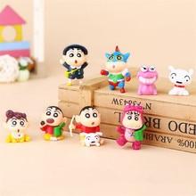 8pcs 3-4cm PVC Crayon Shinchan Figure Toy Cute Crayon Shin Chan Action Figure Models Hot Cartoon Anime  Kid Toys