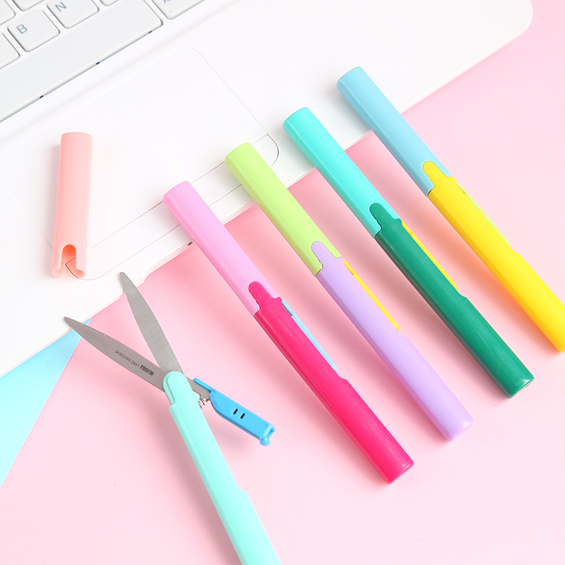 Pen Shape Foldable Sissors Simple Color Cutting Knife Creative Artist Knife Stationery Crafts Kids Desk Kindergarten Supplies