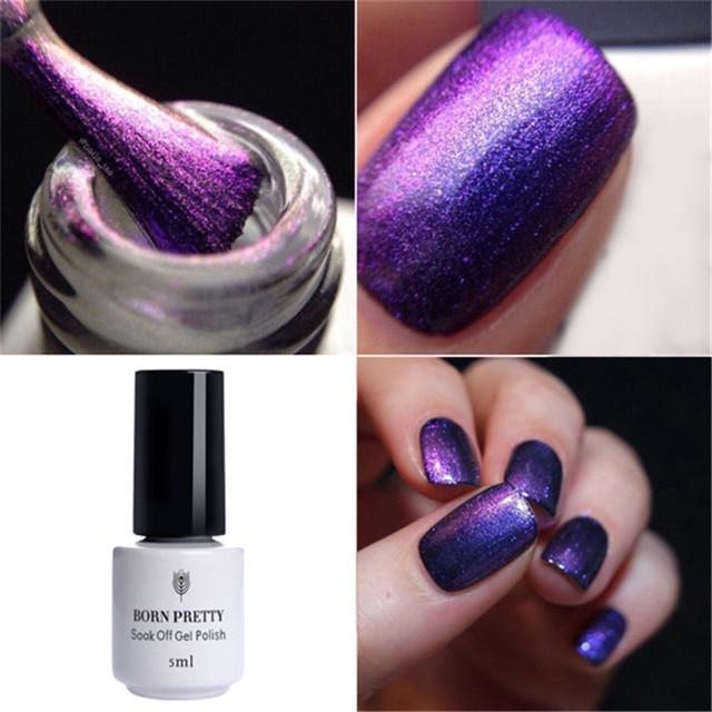 Born Pretty 5ml Chameleon Uv Gel Nail Polish Purple Green Soak Off Multi Chrome