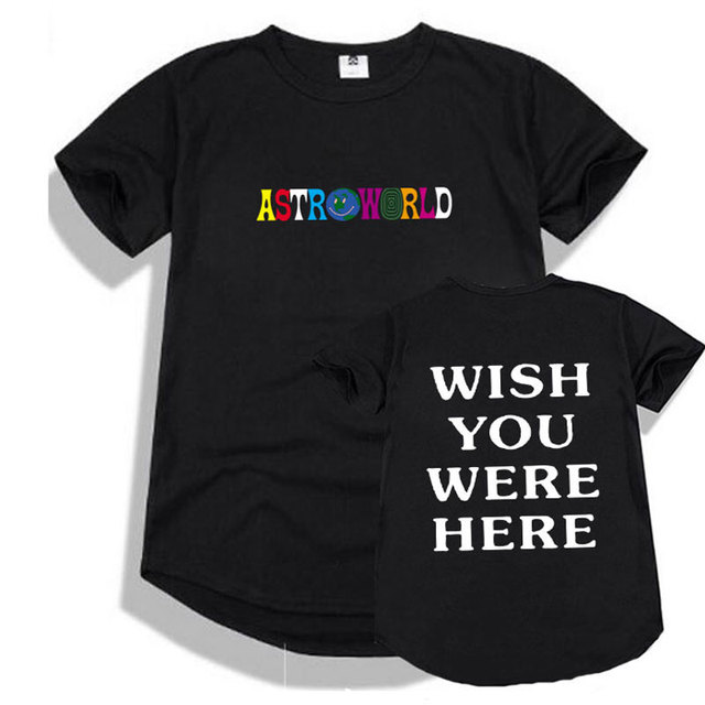 b46572ab91aa Round hem t shirt men Streetwear Travis Scott Astroworld t shirt men and Women  Hip hop camisetas hombre ASTROWORLD tshirt