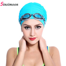 2017 New Summer Women Sports Swim Hat Fold Swimming Cap Quick Dry Swimming Hats for Draped Strentch Long Hair free shipping 2018 flower drape stretch seaside fold swimming cap for sexy lady womens girls long hair stretch hat drape bathing swim hat