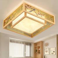 Журнал квадратный твердой древесины светодиодный потолочный светильник ретро гостиная ресторан освещение спальни оформление зала потоло
