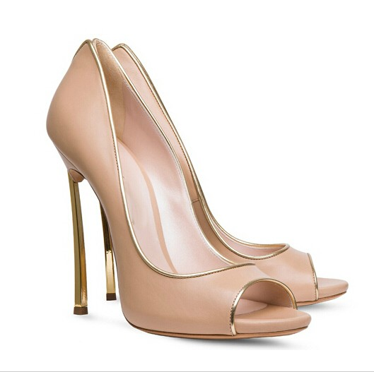 Newest Hot Selling Top Italian Design Elegant Lady Dress shoes woman Fashion Peep Toe Mixed Color Blade Heel Nude High Heel
