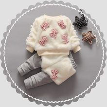 Фотография Baby Boys Girls Velvet Children Clothing Sets Bow Cartoon Hoodies Pants Suits Winter Newborn Kids Wear Children Clothes Hsp203