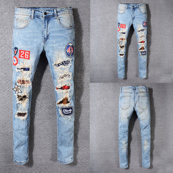 2019 Italian Style Fashion New Men Jeans,Top Quality Patchwork Casual Pants Slim Fit Brand Streetwear Stretch Biker Jeans Men 2019 new style new men jeans blue color high quality patchwork casual pants slim fit brand streetwear stretch biker jeans men