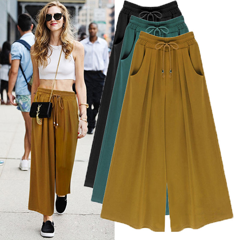 2016 Summer High Waist Women Chiffon   Wide     Leg     Pants   loose casual Plus Size M - 6XL Black green Khaki woman Trousers   pants