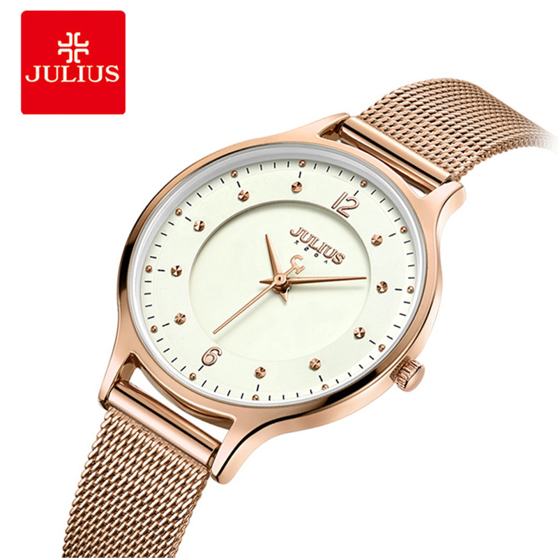 JULIUS Women Luxury Rose Gold Thin Stainless Steel Mesh Belt Bracelet Watches Ladies Quartz Wristwatch Relogio Feminino 2017 julius brand ladies women dress watches thin quartz watch steel mesh band luxury gold bracelet wristwatch relogio feminino