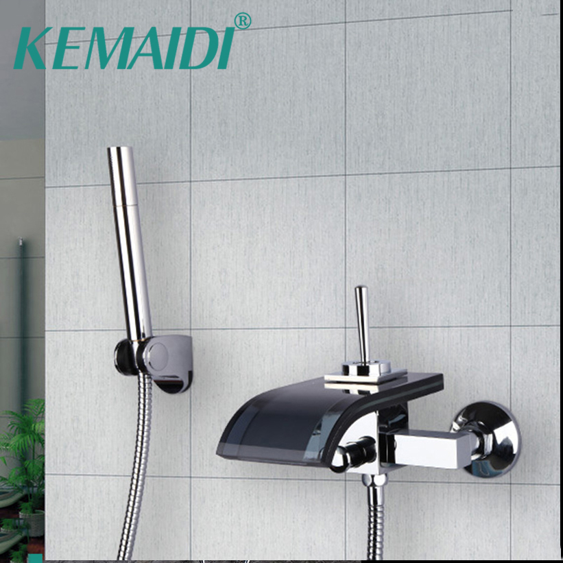 KEMAIDI Construction& Real Estate Black Glass Tap Wall Mounted Waterfall Brass Basin Bathtub Mixer With Handle Spray Faucet free shipping polished chrome finish new wall mounted waterfall bathroom bathtub handheld shower tap mixer faucet yt 5333