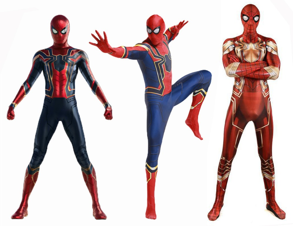 Free Shipping Iron MCU Spider-Man Costume Avengers Infinity War Version Iron Spider Homecoming Suit Lycra Spiderman Bodysuit