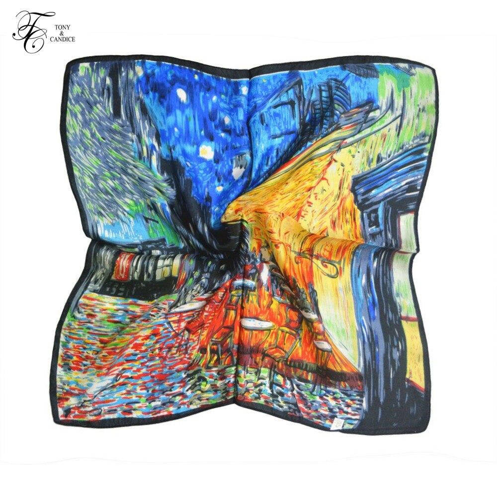 Syal Sutra Wanita Cetak Grafis 100% Silk SquareScarf - Aksesori pakaian - Foto 2