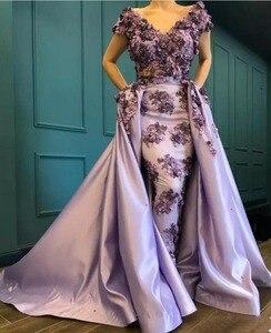 Женское вечернее платье с v-образным вырезом, открытыми плечами, рукавами-крылышками и цветочной аппликацией, 2019