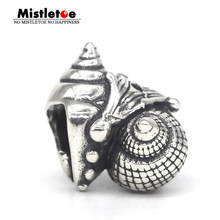 Mistletoe Jewelry Genuine 925 Sterling Silver Love Conch Charm Bead Fit European Troll 3.0mm Bracelet(China)