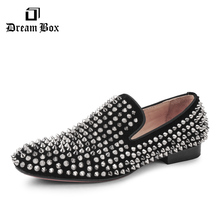 Handmade men black nubuck leather shoes with silver rivet Fashion CL same style men loafers red bottom men's flats Size US 5-9.5 цена в Москве и Питере