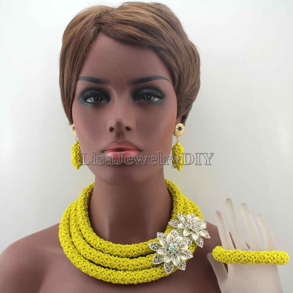 New Unique Yellow Costume African Jewellery Sets African Women Style Nigerian Wedding Crystal Beads Jewelry Free Shipping HD7890New Unique Yellow Costume African Jewellery Sets African Women Style Nigerian Wedding Crystal Beads Jewelry Free Shipping HD7890
