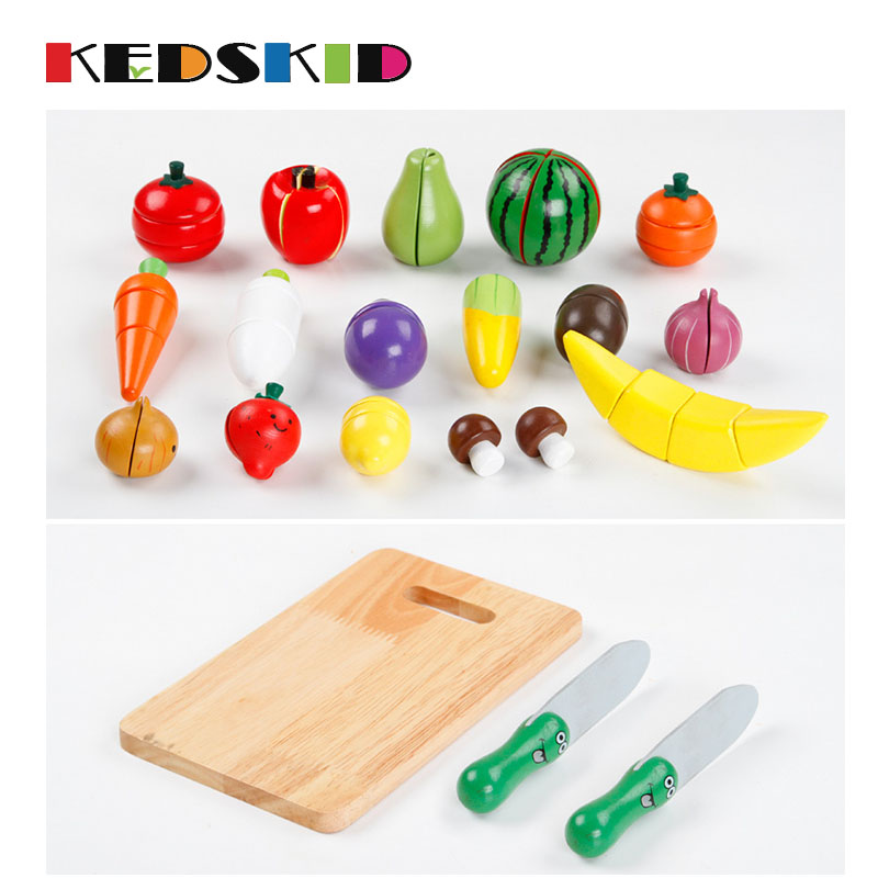 Woodiness Fruit Vegetable Kitchen Cutting Toys Early Development And Education Toy For Baby Kids Children Gife