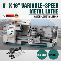 750w 8x16 Inch Metal Lathe Multi function Variable Speed Accurate Metalworking Machine with Tool Storage Box