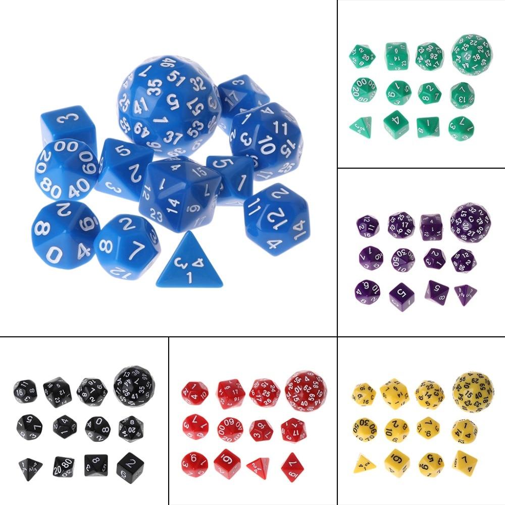 12pcs/Set Multi-sided Polyhedral Dice D4 D6 D8 D10 D12 D20 D24 D30 D60 Dungeons