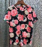 2019 Summer women's floral print Tee shirt Chic women cotton beading T shirts Tops A122