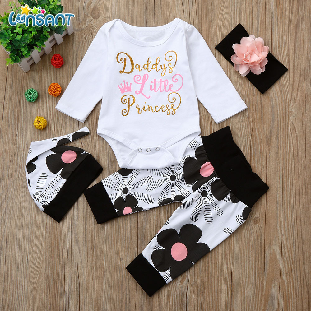 LONSANT Newborn Infant Baby Girl Letter Long Sleeve Casual Romper Tops+Floral Pants Hat 4Pcs Girls Clothes 1