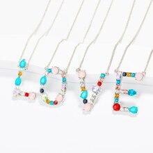 Multi-color Fashion CZ Charm Gold Color Pendant Necklace Women 26 Alphabet Initial Letter for Love Best Friends