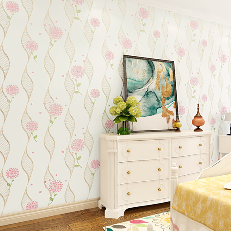 Pastoral floral wallpaper 3d wallpapers flowers mural wall for Floral wallpaper bedroom ideas