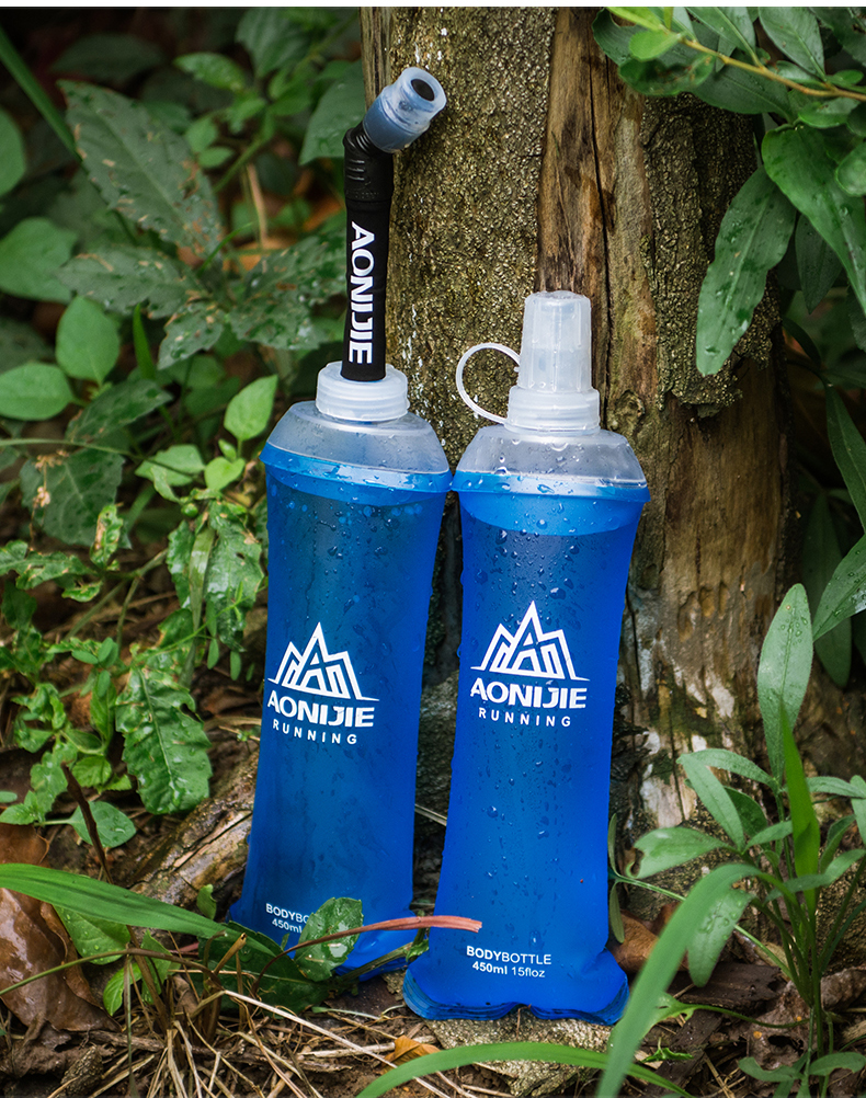Foto of two from the front water's flask folding TPU for sport. Collapsible flask of water 500ml for hiking