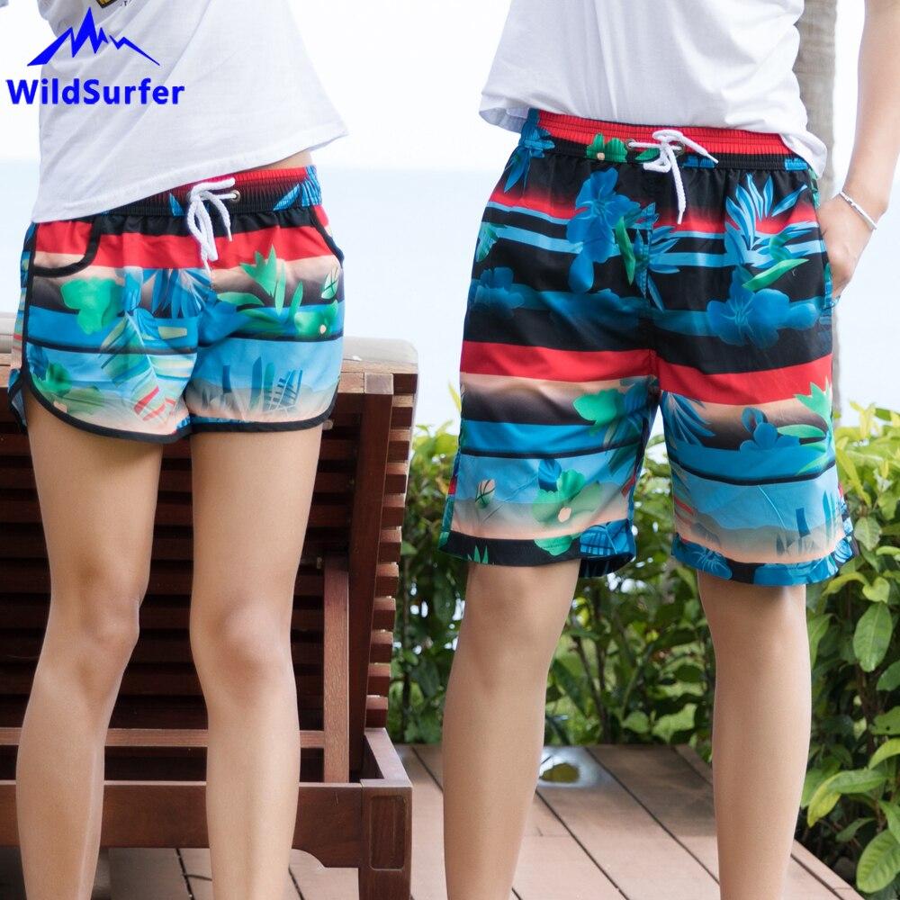 WildSurfer Couple Beach Wear Shorts Men Quick Drying Board Shorts Women Bermudas Surfing Short Pants Plage De Bain Homme SP64