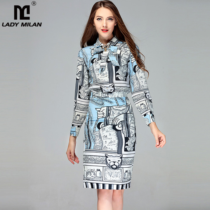 New Arrival 2018 Spring Womens Turn Down Collar Long Sleeves Shirts with Printed Pencil Skirts Fashion Runway Twinsets