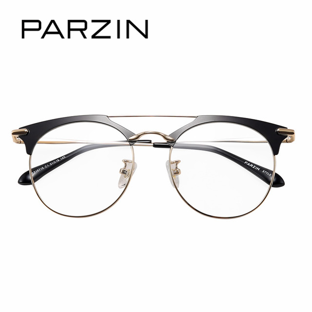 Online Shop PARZIN Semi Rimless Round Glasses Frames With Clear Lens ...