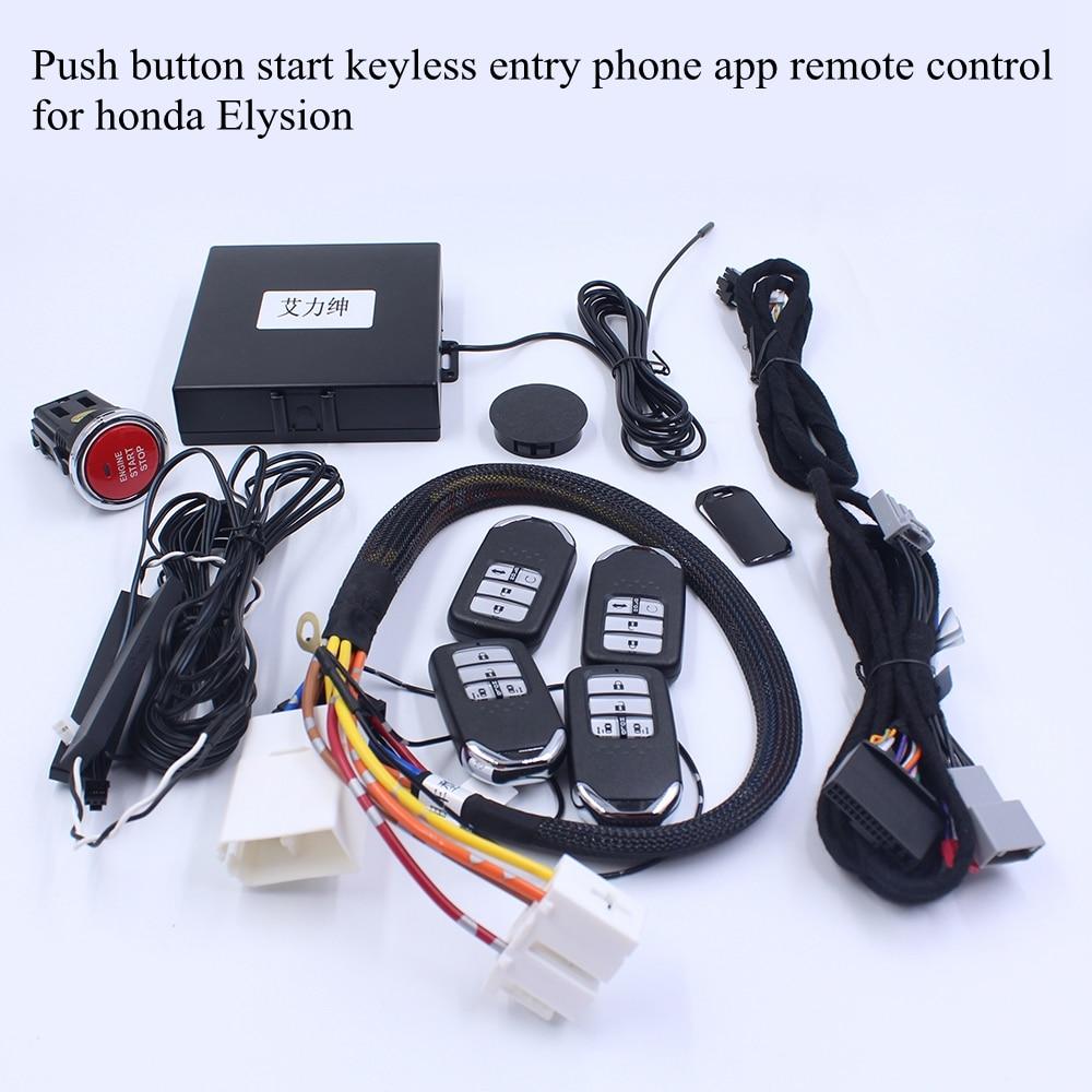 Smart Keyless entrée bouton poussoir démarrage téléphone portable App télécommande moteur démarrage arrêt GPS suivi pour Honda Elysion Odyssey