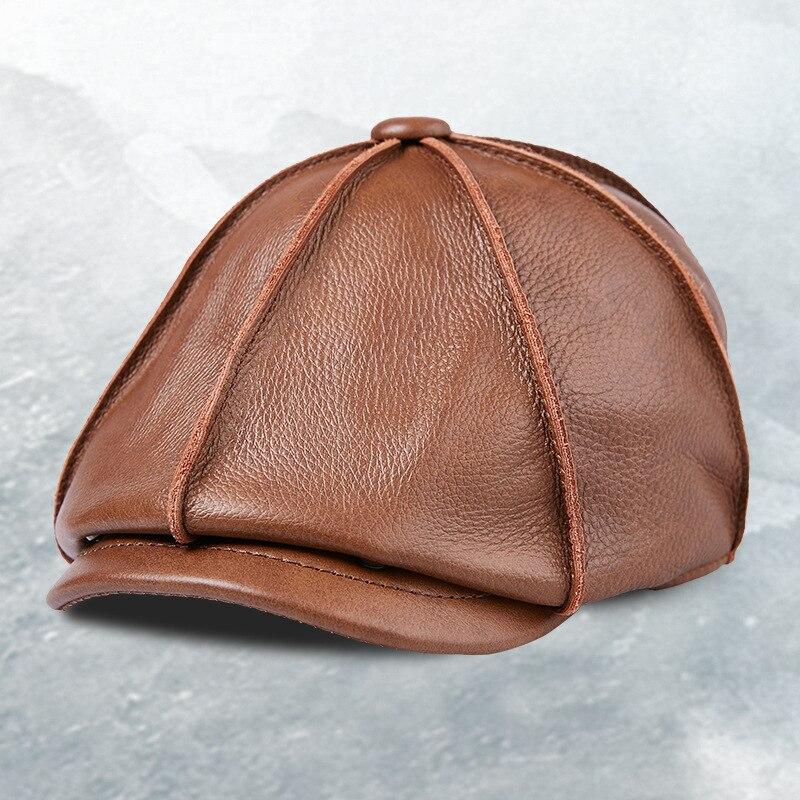 b15c0c17f57 Louvize Victor Autumn Winter Hat Sheepskin Cap for Man Genuine Leather Mens  Baret Cowhide Flat Cap Vintage Newsboy Cap