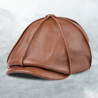 Louvize Victor Autumn Winter Hat Sheepskin Cap for Man Genuine Leather Mens Baret Cowhide Flat Cap Vintage Newsboy Cap