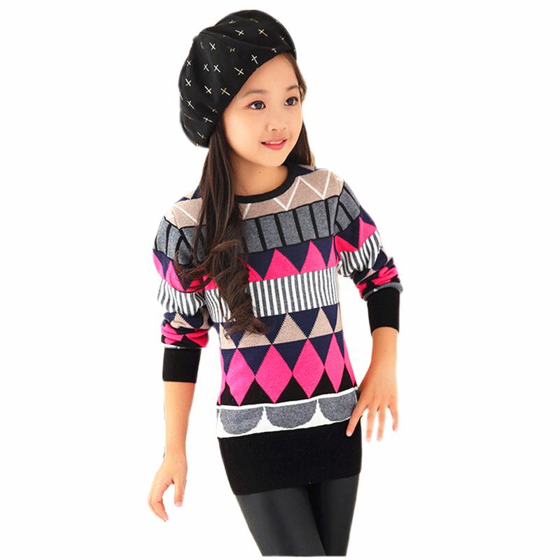 Kid Spring and Autumn Clothing Girl Slim Long Pullover Cardigan Turtleneck and O-Neck Versatile Sweater slim fit v neck plaid pattern sweater