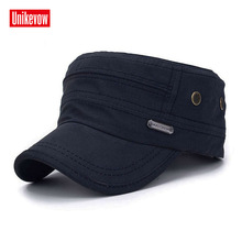 UNIKEVOW  Cotton Army Cap Patchwork Flat top Hat for men and women Military cap fashion sport breathable