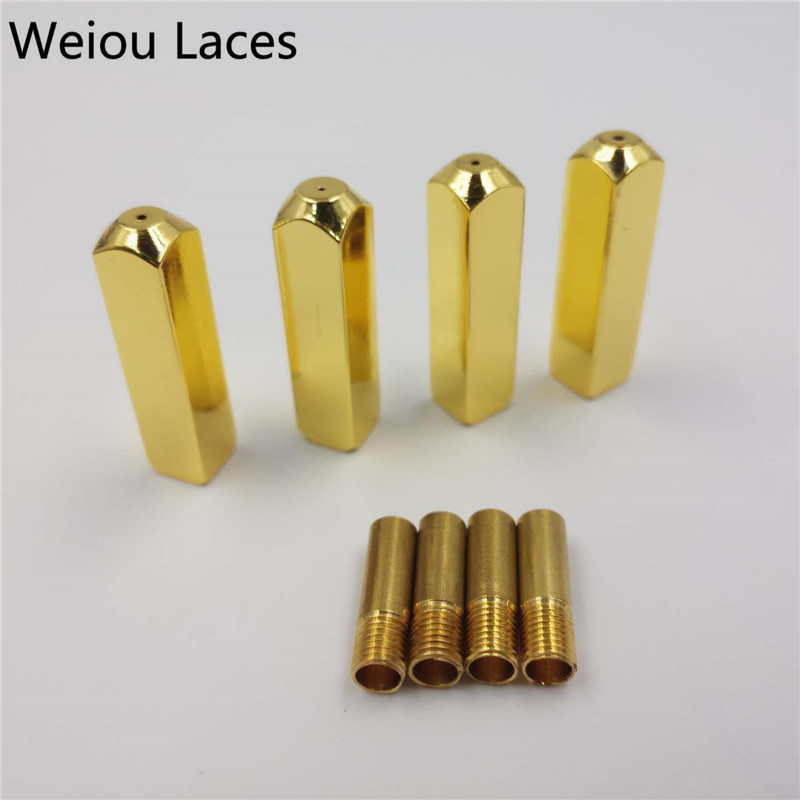 Weiou 4pcs/1Set 6*6*25mm Luxury Rectangle Highlight Mirror Gold Metal Tips V2 Replacement For Sneakers Shoelaces Aglets Gift weiou 100pcs 25sets fashion shoelace metal aglet 6 6 25mm shoe laces mirror gold metal tips heads diy replacement w screwdriver