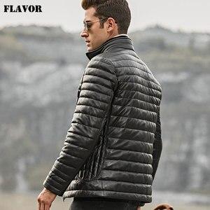 Image 4 - Blouson dhiver en cuir véritable, en duvet, pour hommes, avec col en fourrure de mouton permanent et amovible