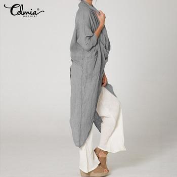 2019 Celmia Plus Size Women Tops and Blouses Vintage Long Shirt Casual Cowl Neck Long Sleeve Loose Asymmetrical Blusas Femininas 3