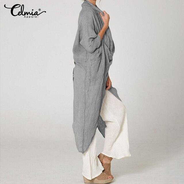 Celmia gran oferta de talla grande mujeres Tops y blusa 5XL Vintage Camisa larga Casual capucha cuello de manga larga asimétrica Blusas femeninas 2