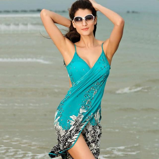 740098ec9d189 Summer Women Polyester Beach Dress Sexy Sling Beach Wear Sarong Bikini Cover -up Wrap Skirt