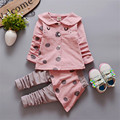 2017 Fashion Polka Dot Baby Girl Clothes 95% Cotton Jumpsuit Children Winter Kids Clothes Single Breasted Children Clothing Sets