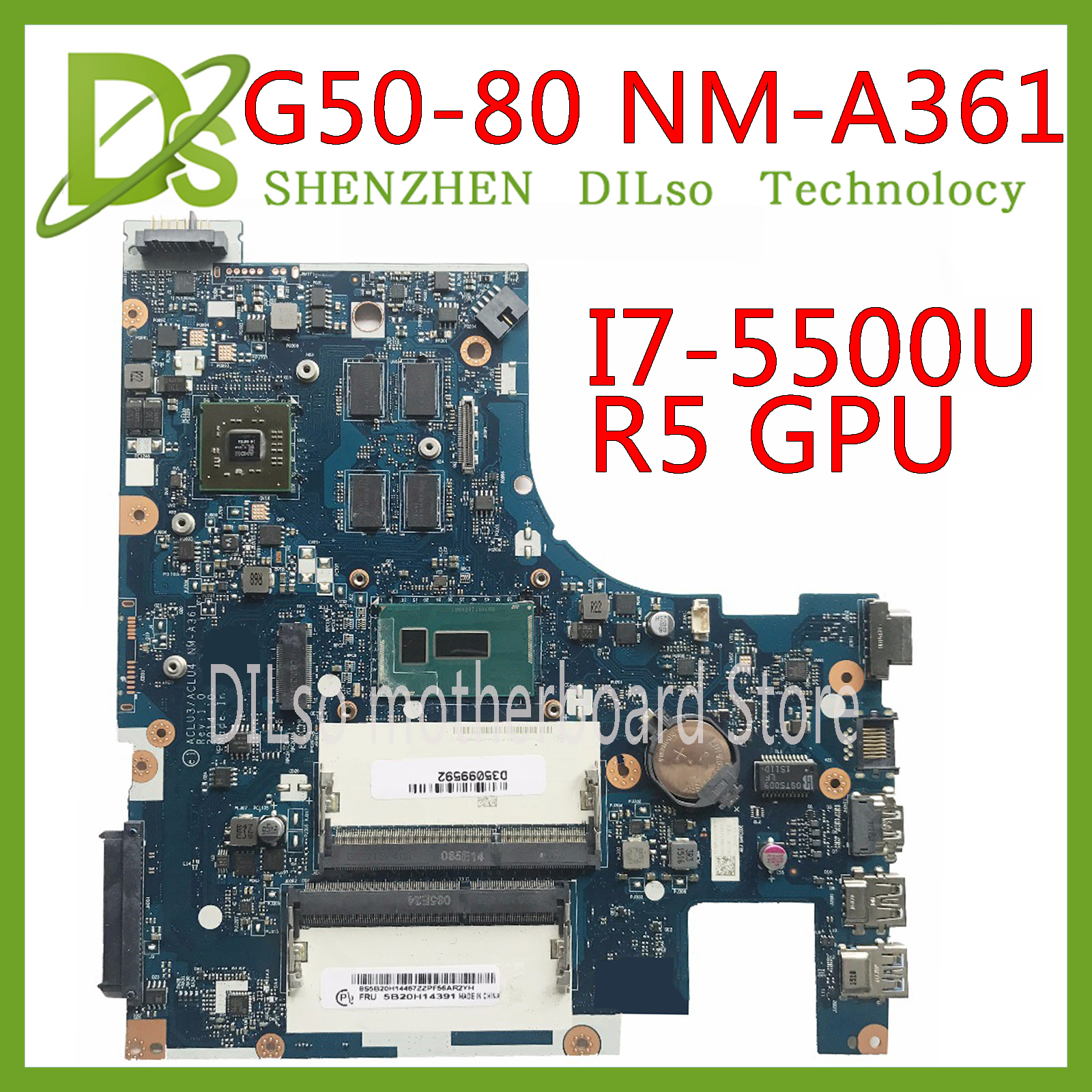 KEFU NM-A361 carte mère pour Lenovo G50-80 ACLU3/ACLU4 NM-A361 PM ordinateur portable carte mère ordinateur portable I7-5500 CPU Test d'origine