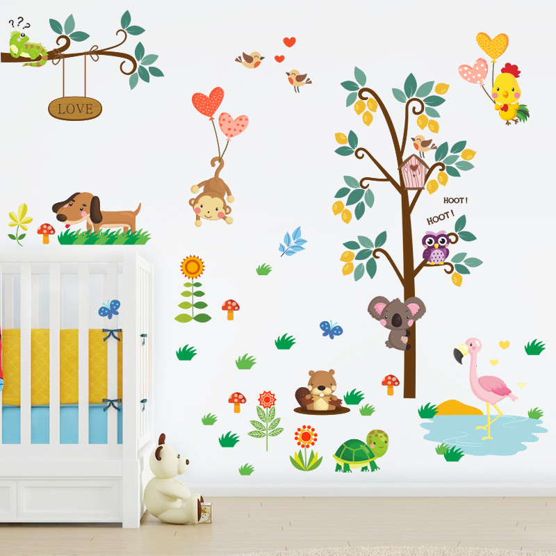 Jungle Animal Zoo Monkey Bird Wall Stickers Removable Decal Home Room Wall Decor