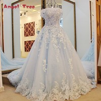 Angel Tree Princess Wedding Gowns Sweep Train Lace Up Back Luxury Lace Wedding Dress Bride Dresses