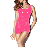 Sexy female mould fetish pink latex dress exotic latex rubber dresses
