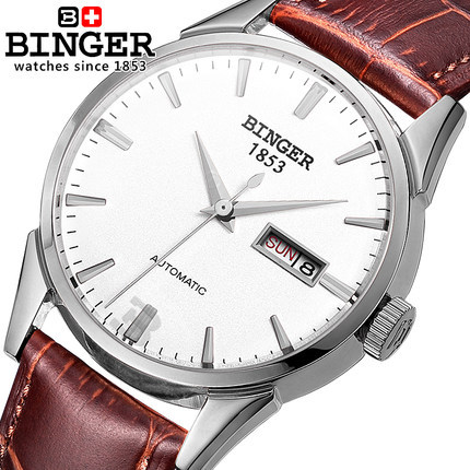 Binger Watches Men Wristwatch Fashion Casual Automatic Watch Relogio Relojes 2017 Hot Sports Watches Wholesale PU Leather Strap binger nylon strap watch hot sale men watch unisex hour sports military quartz wristwatch de marca fashion female male relojes