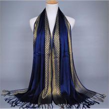 ผู้หญิง Lurex ผ้าพันคอพู่ผ้าฝ้าย Glitter มุสลิมฮิญาบอิสลาม Turbanet Foulard Femme musulman Headband 180x60 ซม.