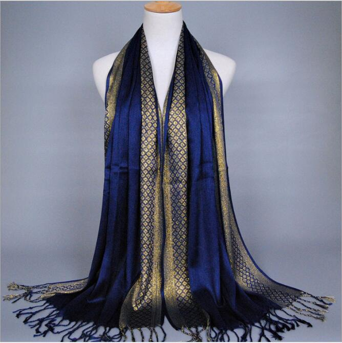 Lurex Women's Scarves Tassel Cotton Glitter Muslim Hijabs Headscarf Islamic Turbanet Foulard Femme Musulman Headband 180x60cm