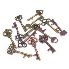 13Pcs / Set Vintage Bronze Key Accessories DIY Pendant Metal Charms Decorations Practical Retro Opener Decoration